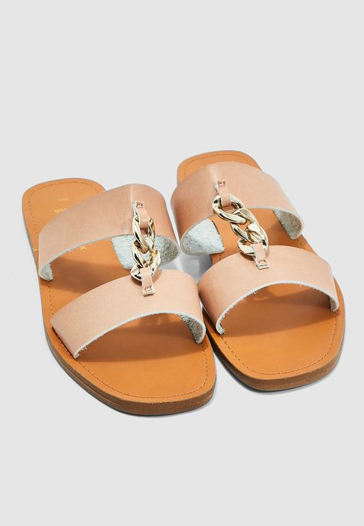 Wide Fit Holden Chain Sandal - Oatmeal