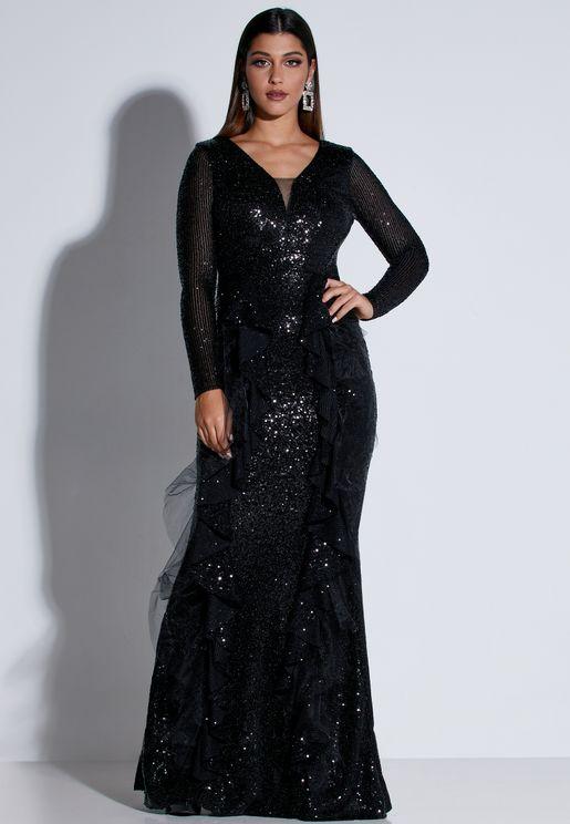 فستان بياقة عميقة مزين بكشكش وترتر