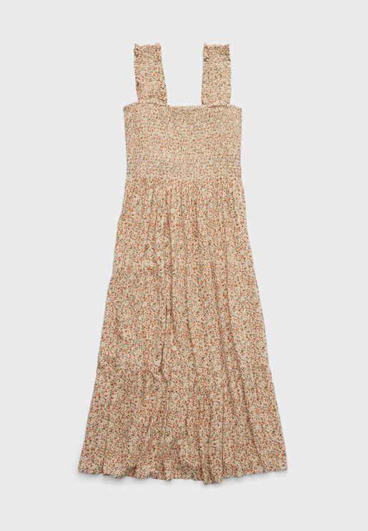 Smocked Strap Midi Dress