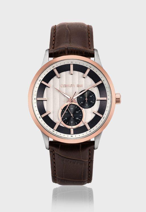 ساعة انالوج بحزام جلد اصلي C CRWA20801