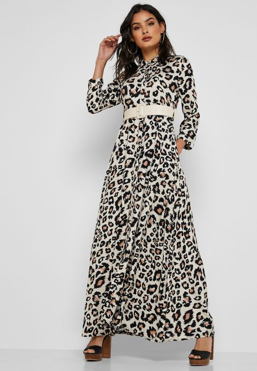 Leopard Print Belted Shirt Maxi Dress