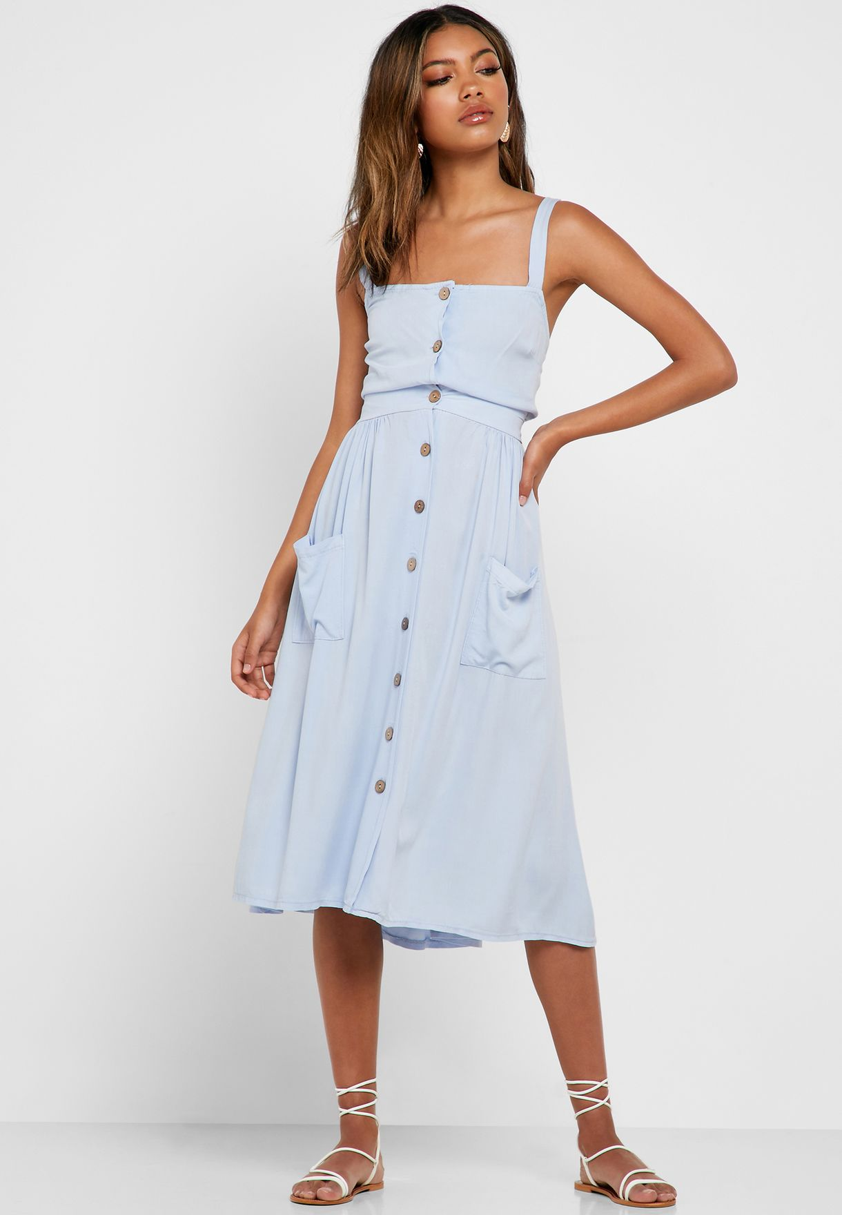 Button Down Top Midi Skirt Set