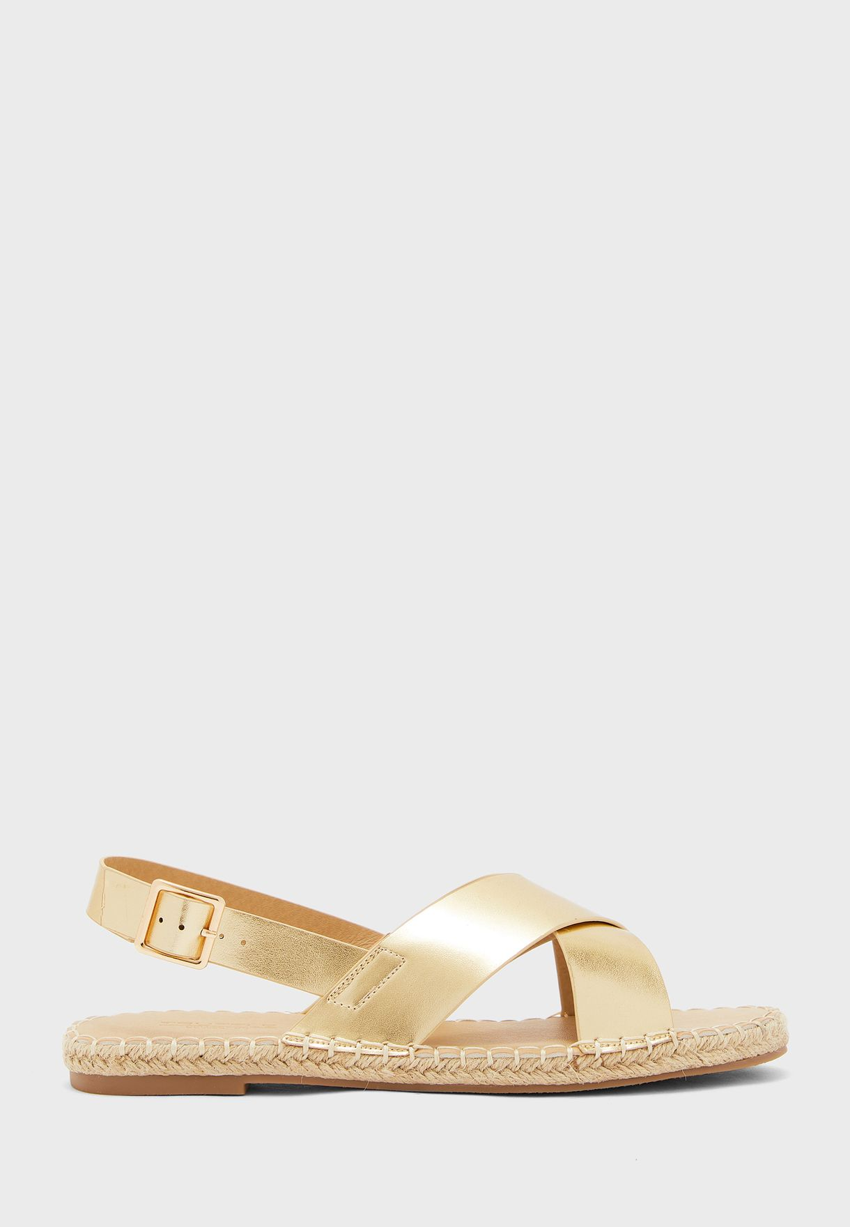 Cross Strap Espadrille Flat Sandals