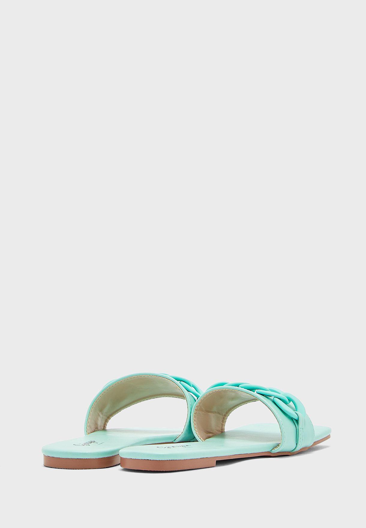 Tonal Chain Square Toe Flat Sandal