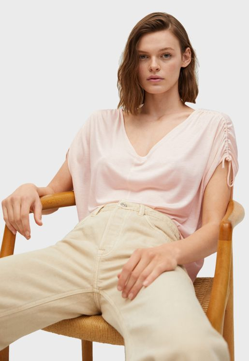 Rudged Sleeves Casual Top