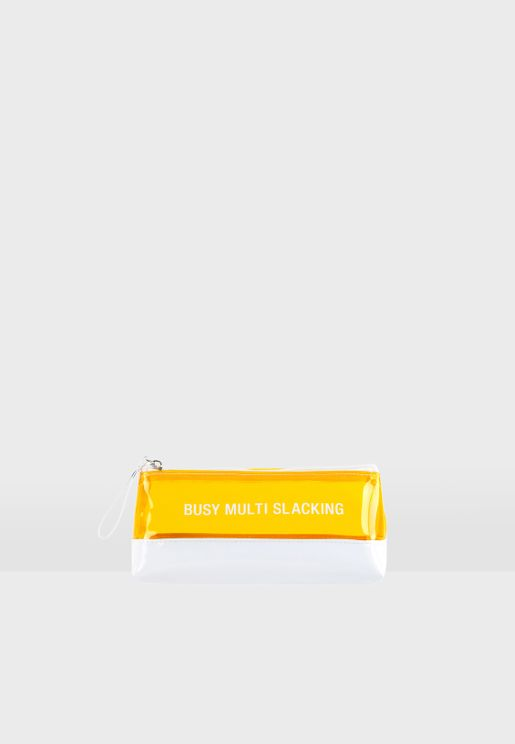 Late Slogan Cosmetic Bag