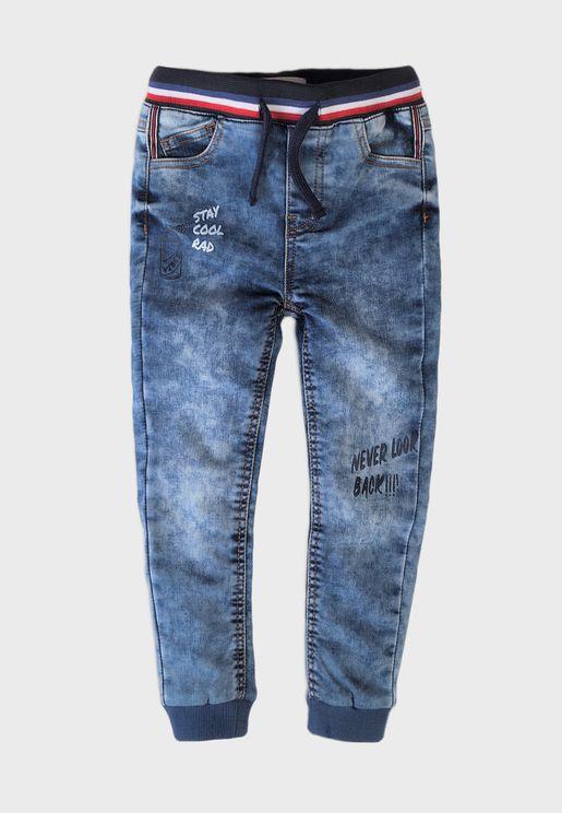 Kids Ribbed Waist Denim Jeans