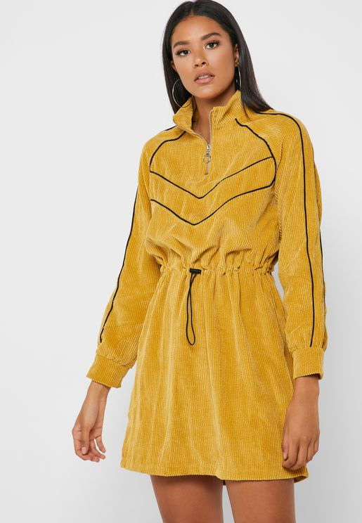 High Neck Zip Detail Dress