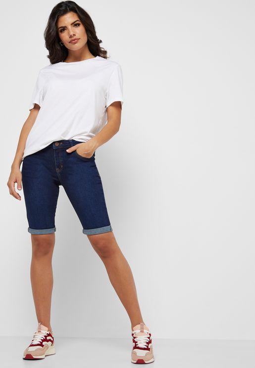 Knee Length Denim Shorts
