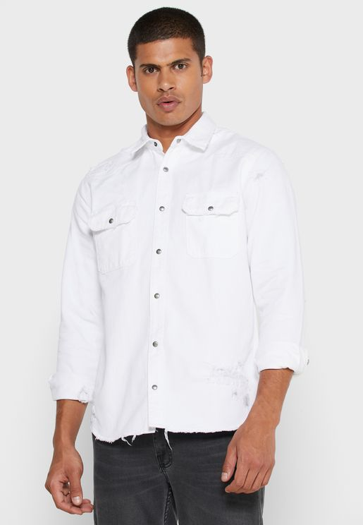 Light Wash Regular Fit Denim Shirt