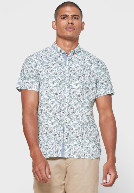 Palm Tree Print Slim Fit Shirt