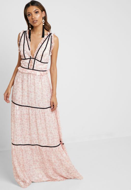 Piping Detail Lace Maxi Dress