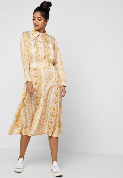 Snake Print Tie Front Shirt Midi Dress