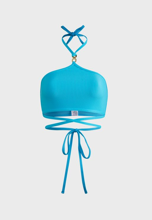 Wrap Strap Halter Bikini Top