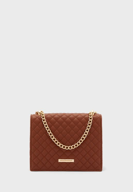 Bluebell Chain Detail Quilted Crossbody