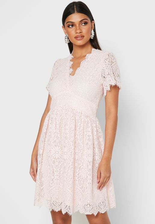 Sheer Lace Plunge Dress