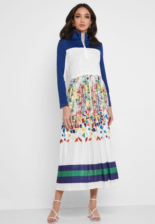 Colorblock Printed Dress