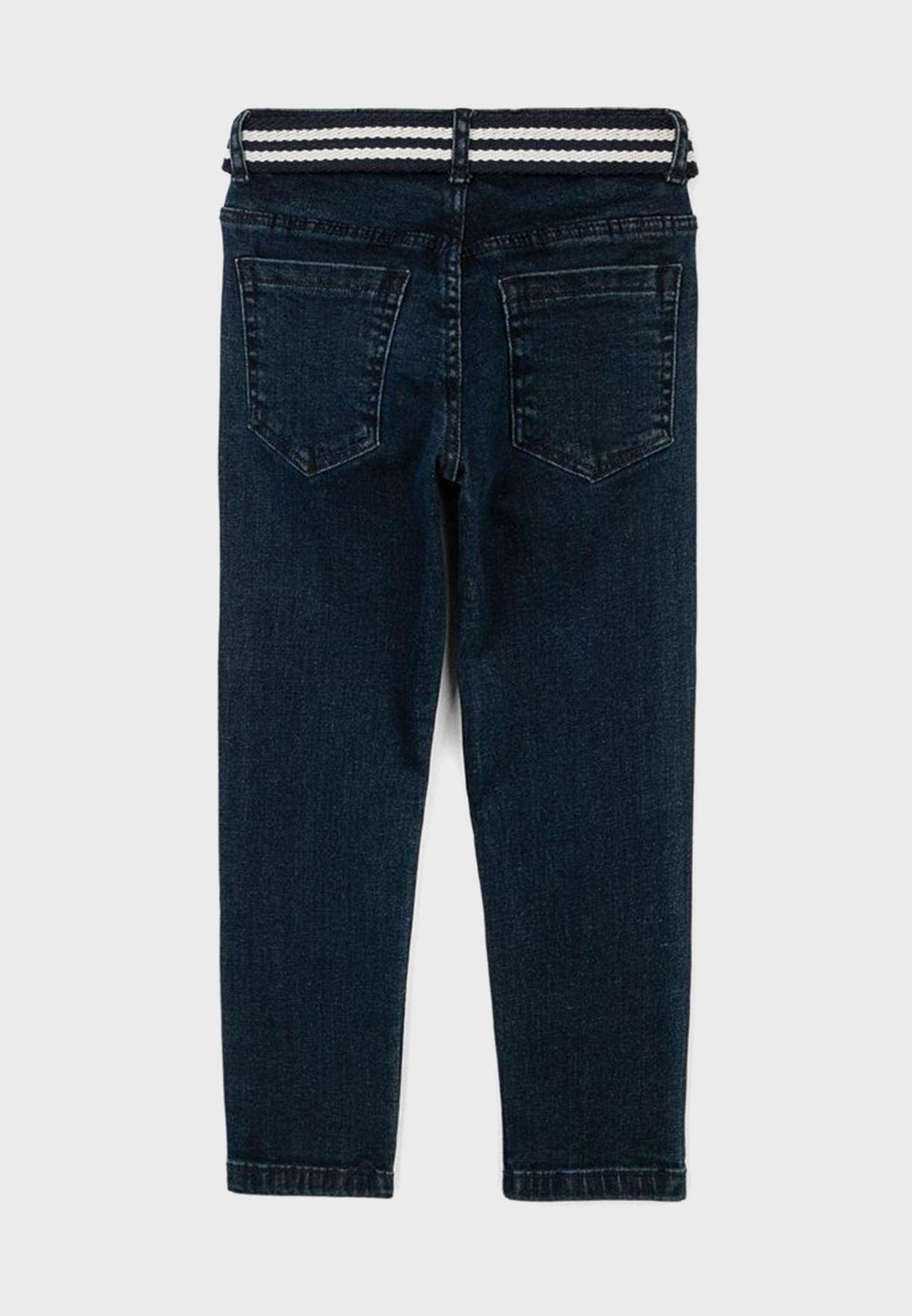 جينز كلاسيكي بحزام خصر