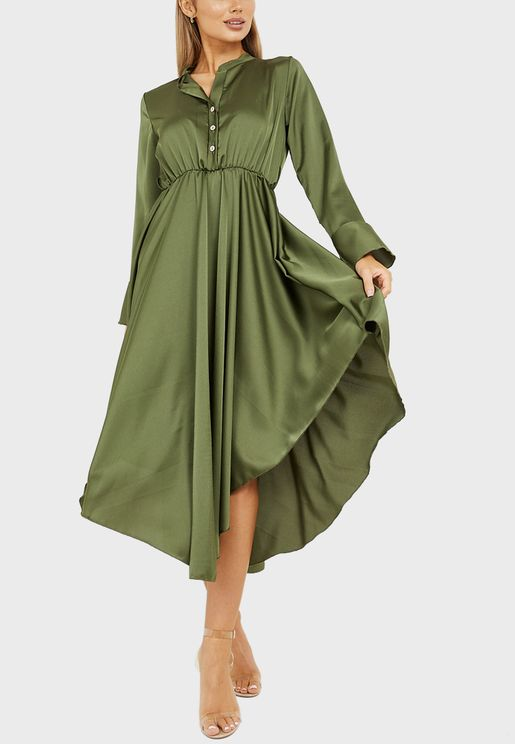 Button Front Frill Sleeves Hanky Hem Midi Dress