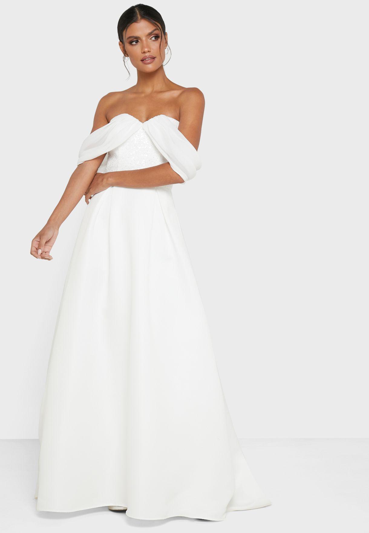 Vicki Shimmer Bardot Dress