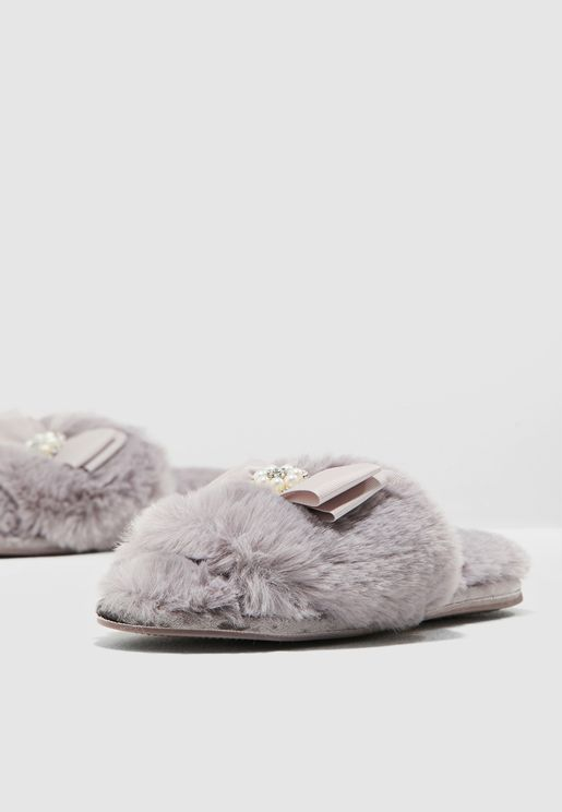 Fur Jewel Bedroom Slipper