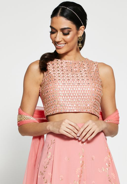 Pink Mirror Work Sleeveless Crop Top