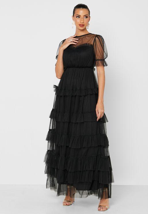 Mesh Detail Ruffle Dress