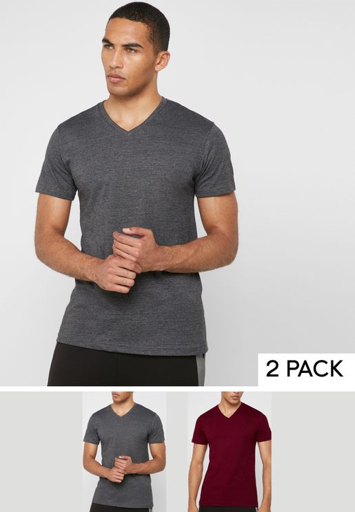 2 Pack Essential V-Neck T-Shirts