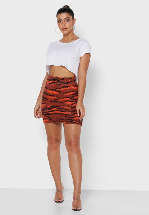 Animal Print Knitted Mini Skirt
