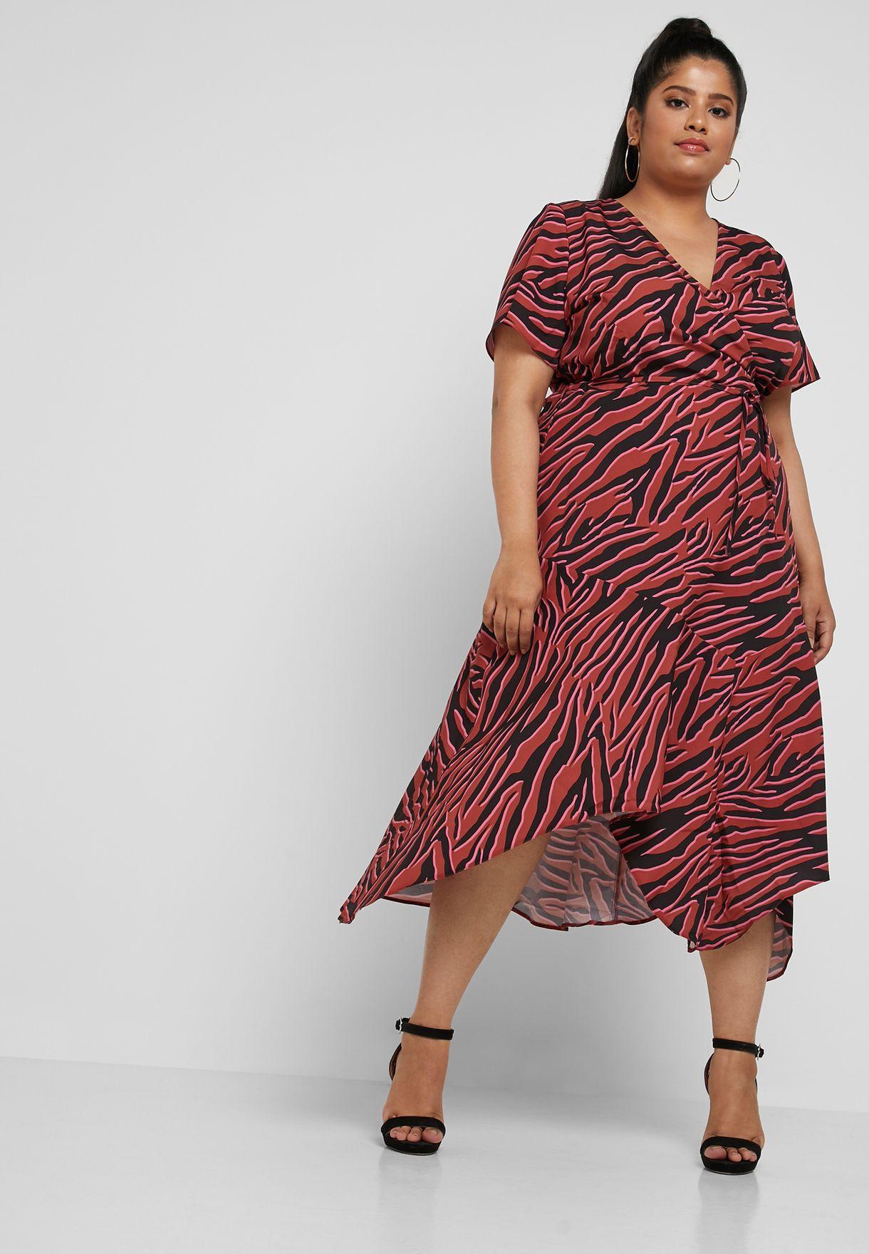 1f089201d82 Shop Lost Ink Plus prints Zebra Print Wrap Dress 1.20312E+15 for ...
