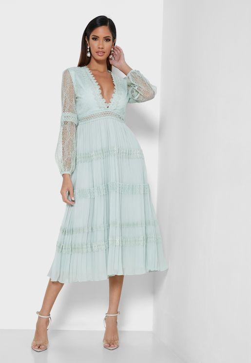 Plunge Ruffle Detail Dress