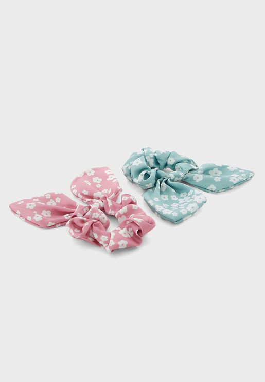 Pack Of 2 Printed Bow Scrunchie