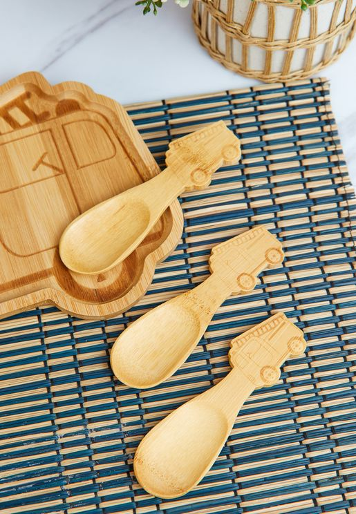 Bamboo Fire Engine Spoons - Set Of 3