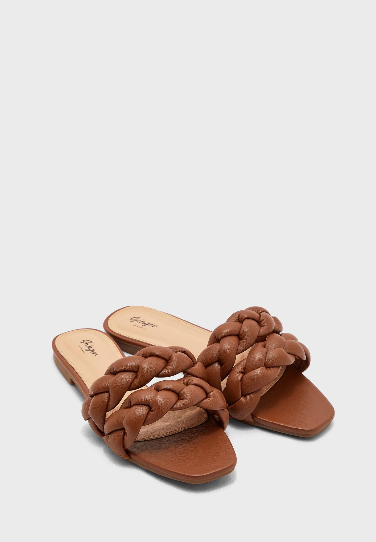 Double Braided Strap Flat Sandal