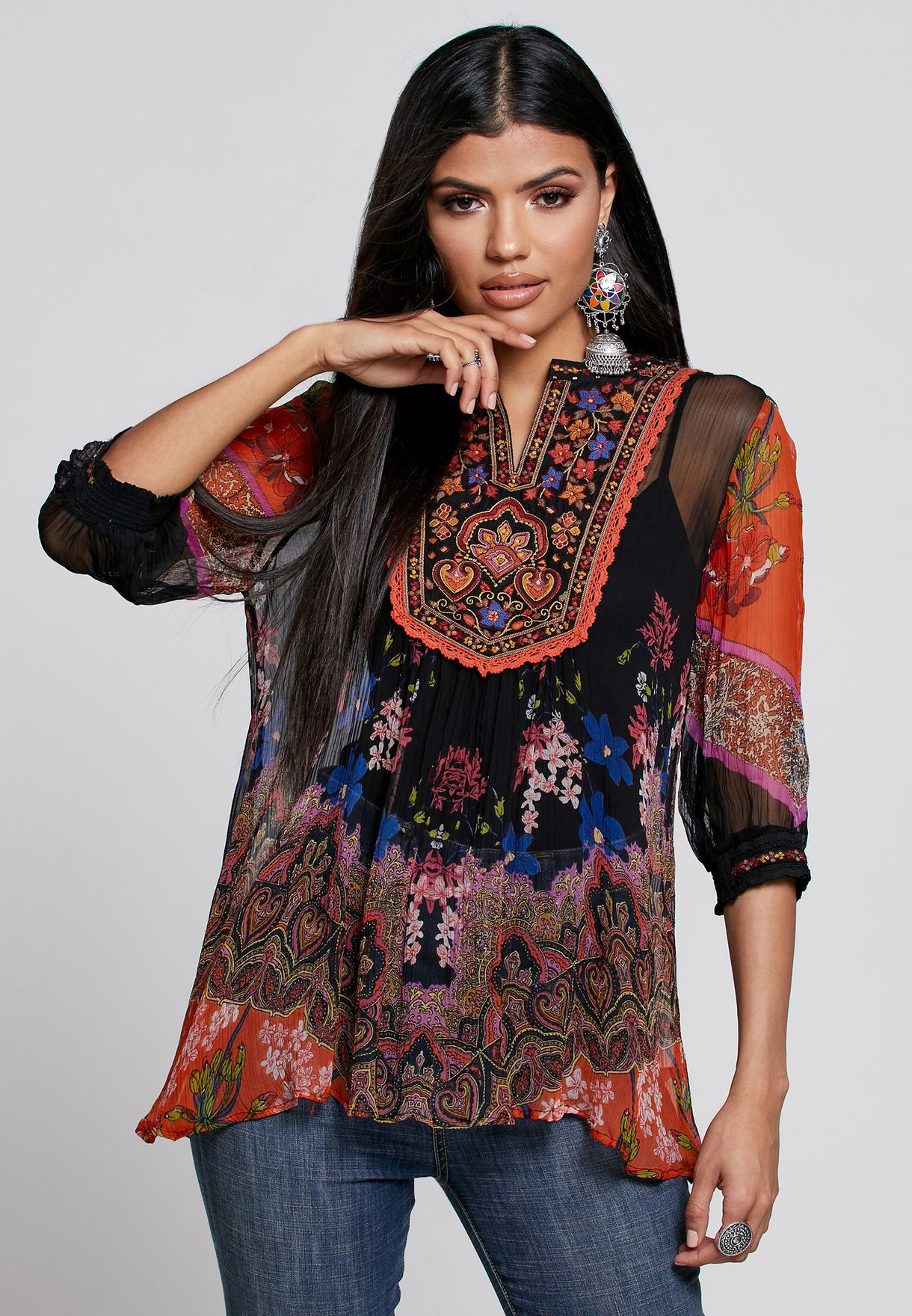 Printed Notch Neck Top