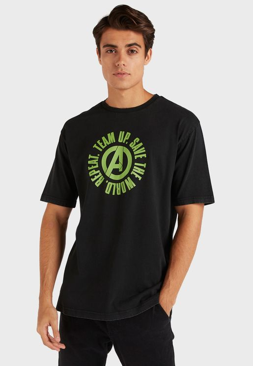 Avengers Slogan Crew Neck T-Shirt