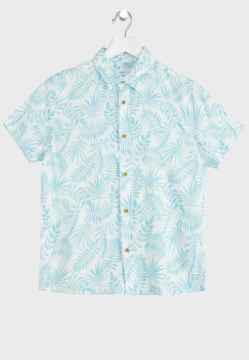 قميص بطبعات أوراق اشجار