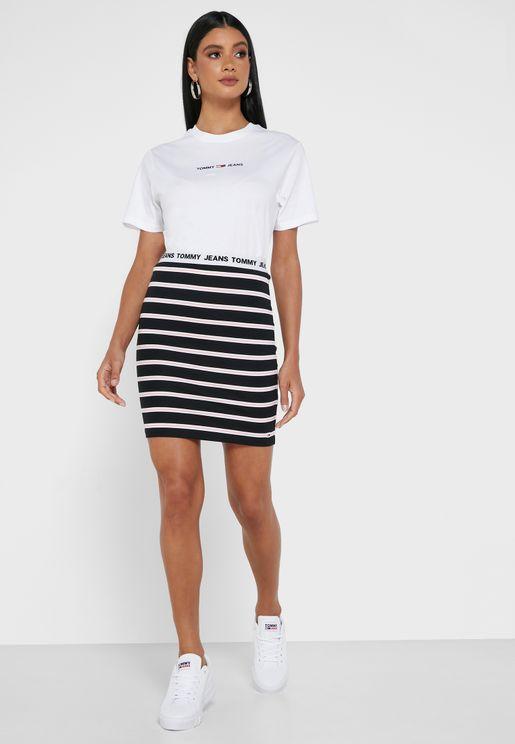 Logo Band Striped Skirt