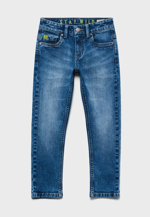 Kids Mid Wash Slim Fit Jeans