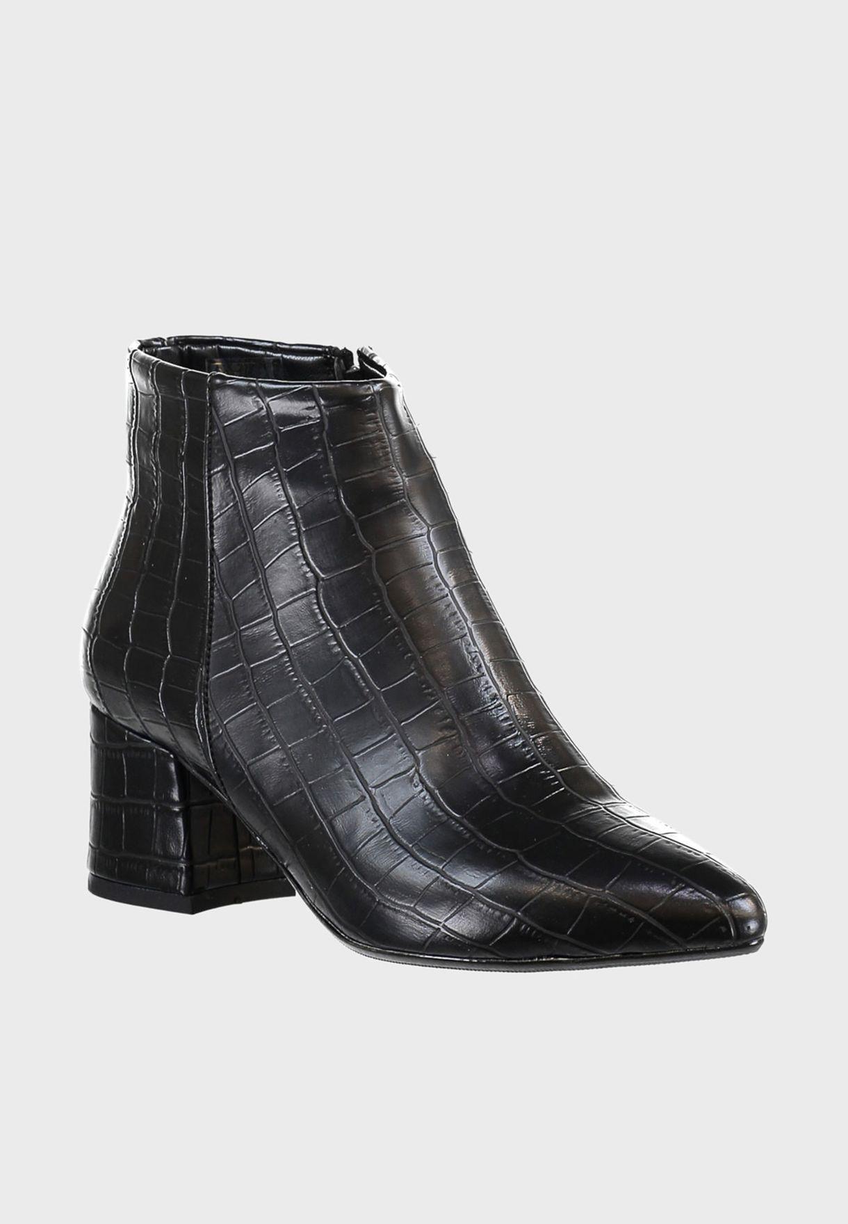 Zip Through Block Heel Boot