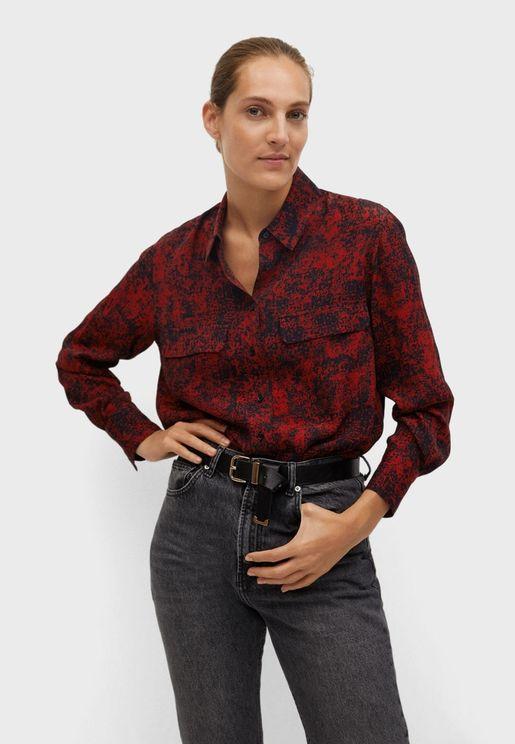 Pocket Detail Printed Shirt