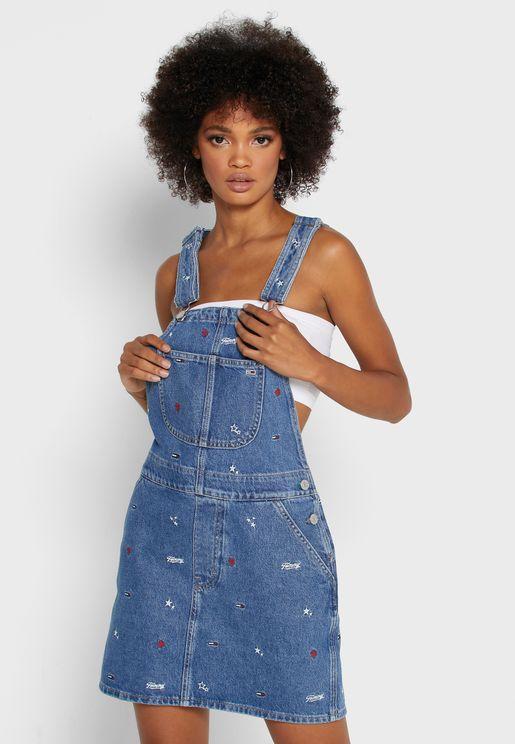 فستان جينز بحمالات اكتاف