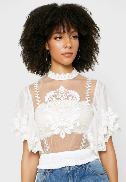 Embroidered Scallop Detail Mesh Top