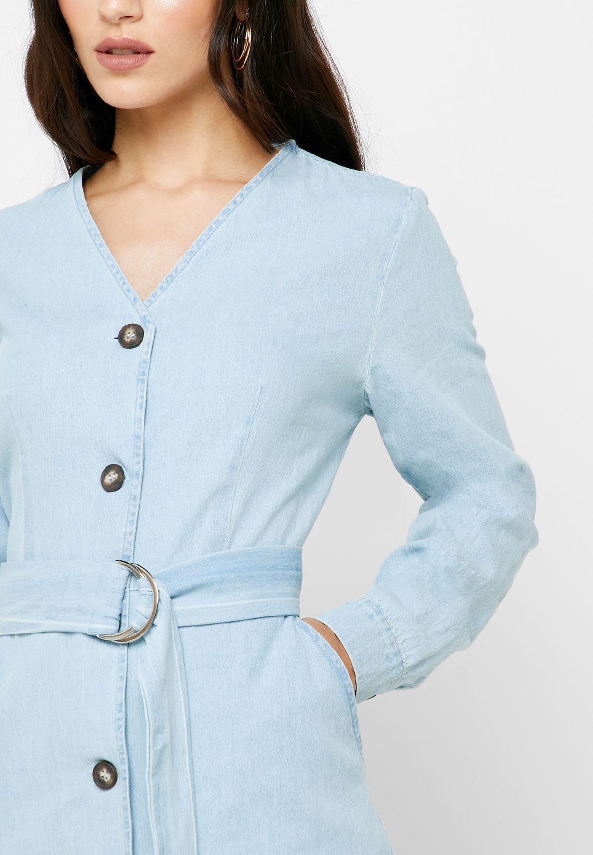 Denim Button Down Belted Midi Dress