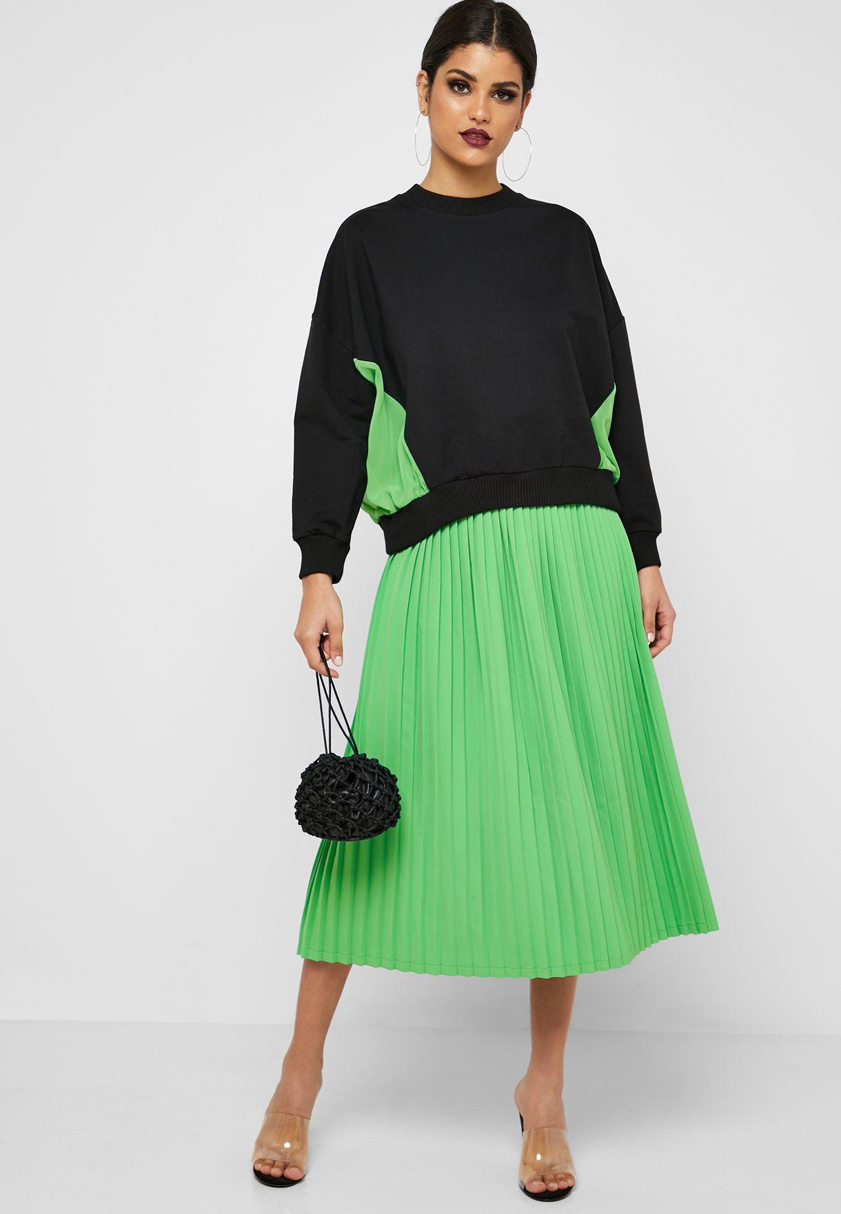 90b5728a40 Shop Anotah green Pleated Skirt 18AWSKI-E82183 for Women in UAE ...