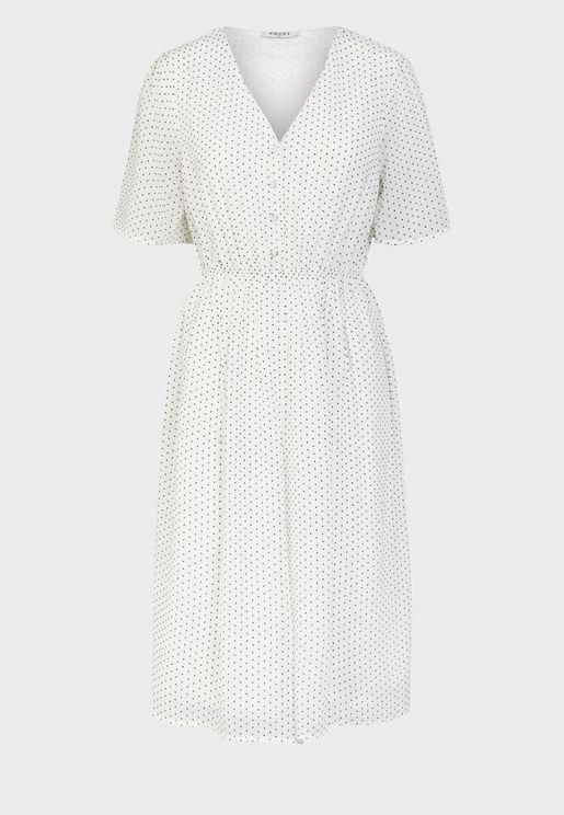 فستان منقط مع ازرار