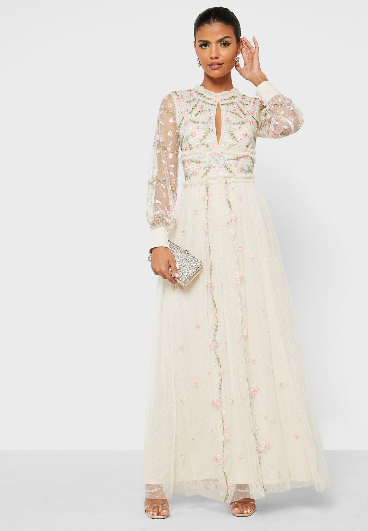 Pleated Mesh Sleeve Dress