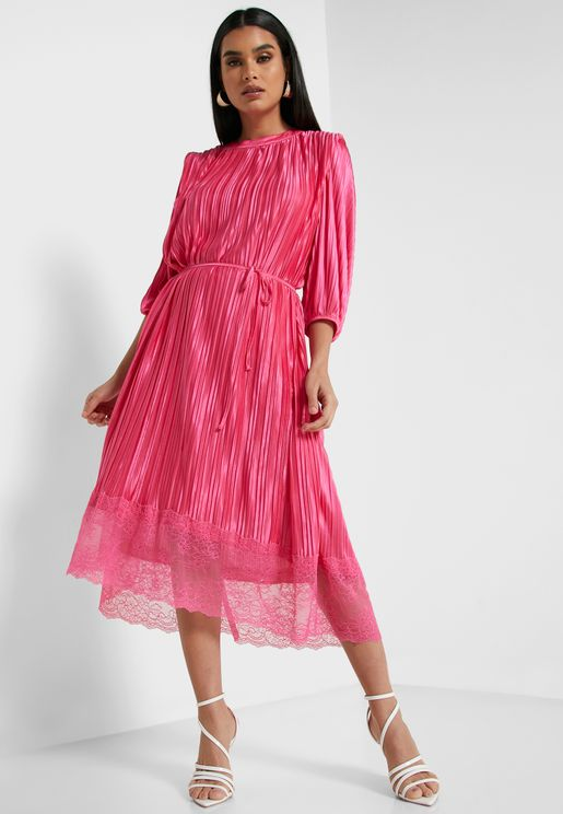 Pleated Self Tie Lace Hem Midi Dress