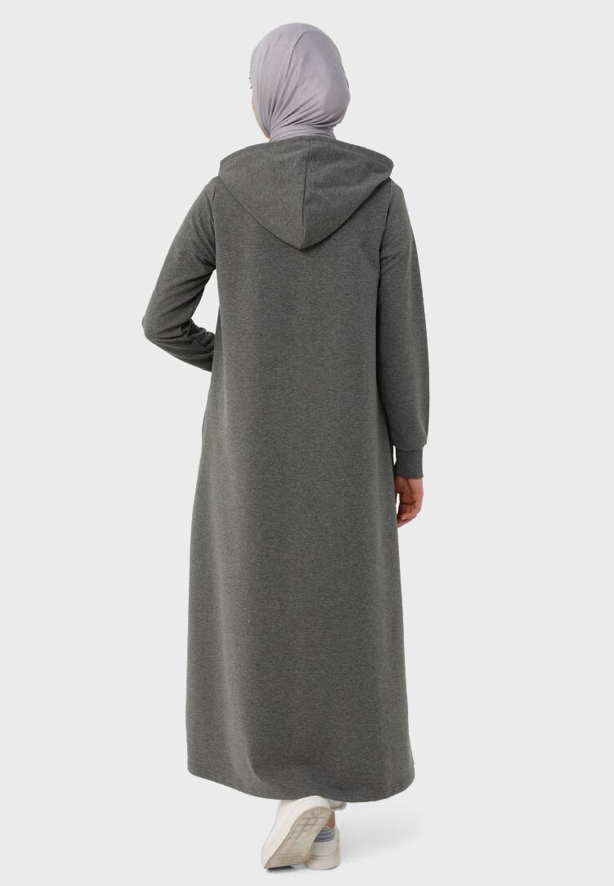 معطف طويل بياقة هودي