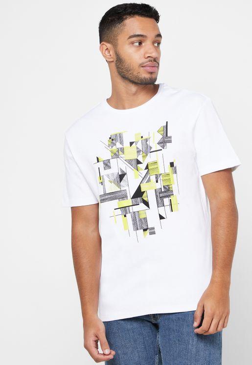 Geometric Print Crew Neck T-Shirt